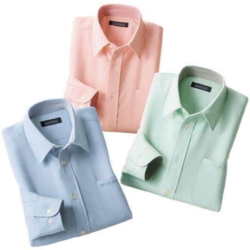 【メンズ】 しわになりにくい安心麻入りシャツ(色違い3枚組) - セシール ■サイズ:S,LL,L,M