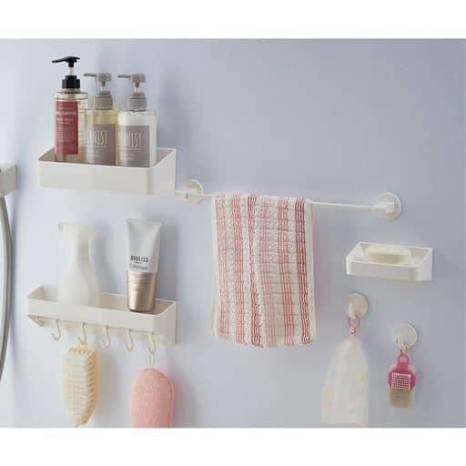 マグネット式浴室収納 - セシール ■サイズ:A(フック2個),B(ソープラック),D(ウォールラック),E(洗剤ラック&フック),F(タオルバーM)