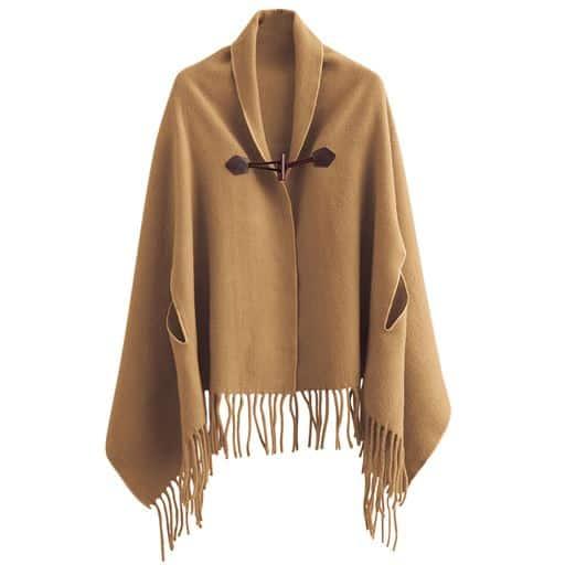【レディース】 毛布屋さんが作った着るショール ■カラー:キャメル