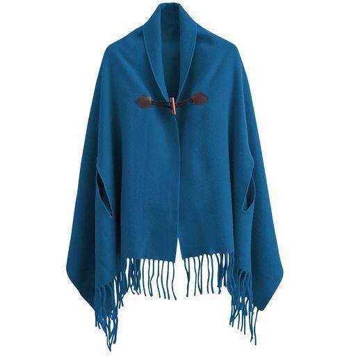 【レディース】 毛布屋さんが作った着るショール ■カラー:マジョリカブルー