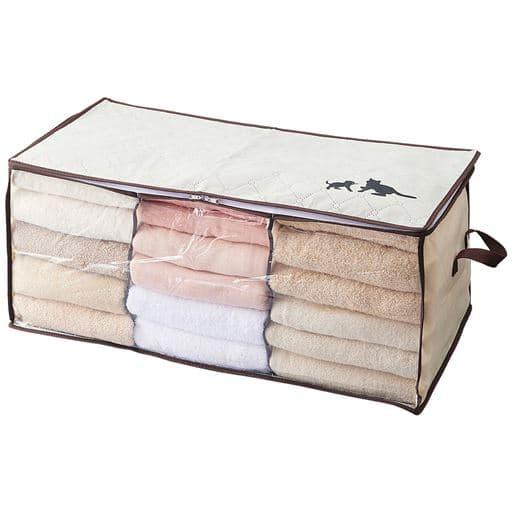 炭消臭 猫デザインの収納袋 2枚組 - セシール ■カラー:アイボリー ■サイズ:A(ベッド下),B(大収納衣類),C(羽毛布団)