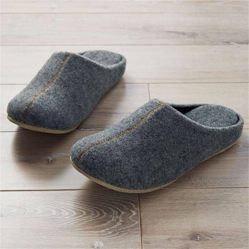 【レディース】 靴メーカーが作ったフェルトルームシューズ - セシール ■カラー:グレー ■サイズ:M(23-24.5cm),L(25-26.5cm)