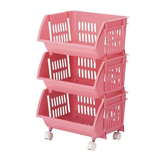 <セシール> 積み重ねバスケット ■カラー:ピンク ■サイズ:B(4段)
