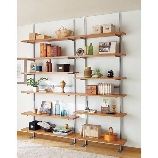 セシールお好きな位置で棚板固定 壁面ラック - セシール ■カラー:ライトブラウン ホワイト ■サイズ:A(幅60/3段),D(幅90/6段)