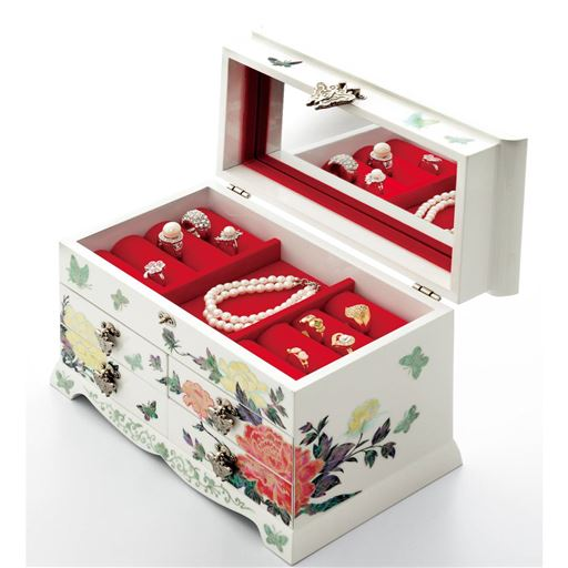 美しい螺鈿細工のジュエリーボックス - セシール ■カラー:ホワイト ■サイズ:A(コンパクト),B(ワイド)