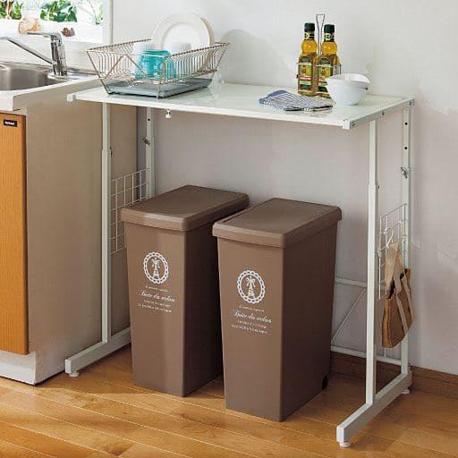 頑丈キッチンラック(幅と高さが調節できる) ■カラー:ホワイト ■サイズ:B,Aと題した写真