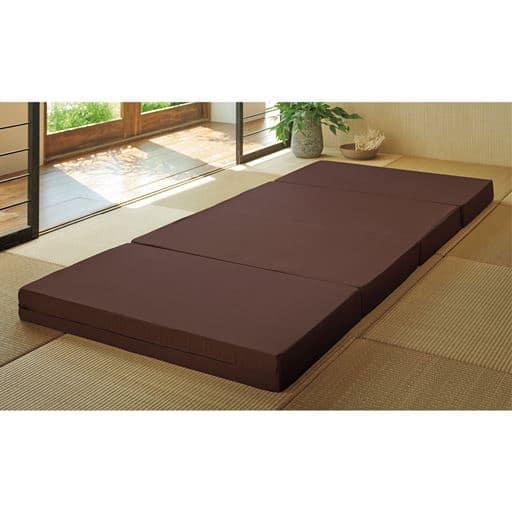厚さ選べるマットレス(腰の沈み込みを抑えるバランスタイプ)/クローゼットに収まる四つ折り - セシール ■カラー:ブラウン ■サイズ:シングルA(100×210cm)厚さ4cm,シングルB(100×210cm)厚さ6cm,シングルC(100×210cm)厚さ10cm,セミダブルA(120×210cm)厚さ4cm,セミダブルB(120×210cm)厚さ6cm,セミダブルC(120×210cm)厚さ10cm,ダブルB(140×210cm)厚さ6cm,ダブルC(140×210cm)厚さ10cm