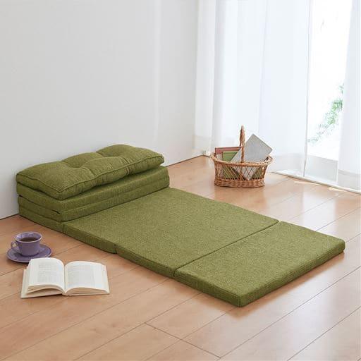 スツールになるごろ寝マットレス - セシール ■カラー:グリーン オレンジ