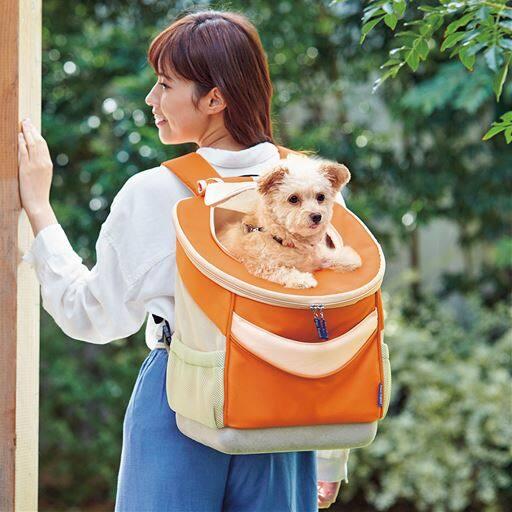 【レディース】 ペット用リュック - セシール ■カラー:オレンジ