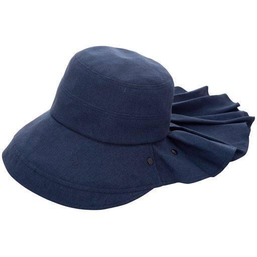 【レディース】 フェイスカバー付き遮熱クールUV帽子 - セシール ■カラー:ネイビー