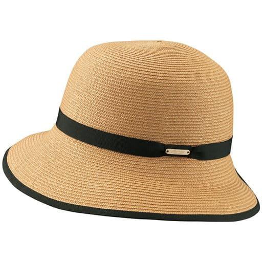 【レディース】 洗えるつば広UVカット帽子 - セシール ■カラー:ナチュラル