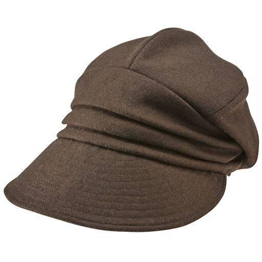 【レディース】 小顔に見える発熱蓄熱暖かUVキャスケット帽子 ■カラー:ブラウン