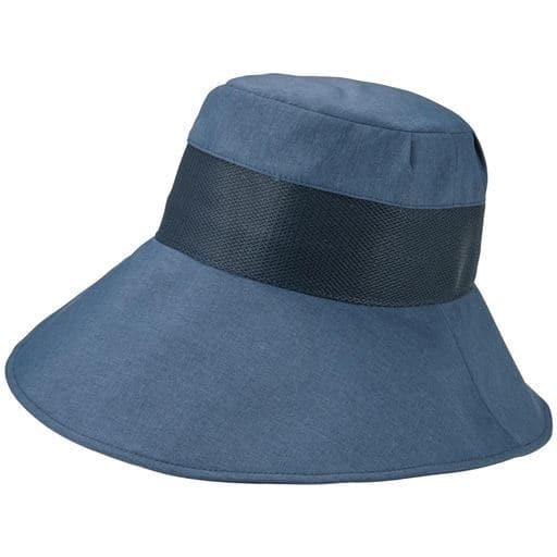 【レディース】 小顔に見える通気性のよい遮熱遮光UV帽子 - セシール ■カラー:ネイビー