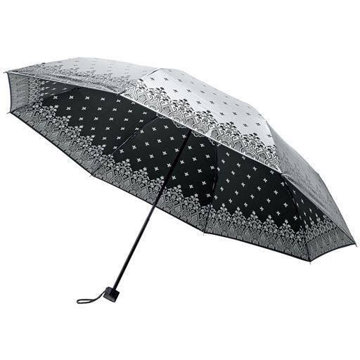 【レディース】 シルバーコーティング大判折りたたみ傘 - セシール ■カラー:ブラック ピンク ブルー
