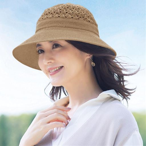 【レディース】 風が通る綿のツバ広UV帽子 - セシール ■カラー:ベージュ