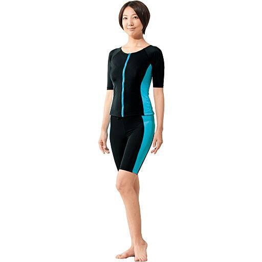 【レディース】 10機能のこだわりシェイプ水着 ■カラー:半袖 ブルーライン ■サイズ:M-L