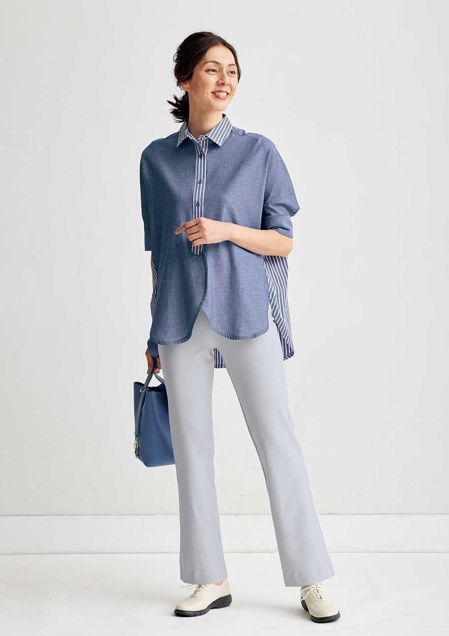 ドルマンシャツ&ブーツカットパンツで爽やかにきれい見え