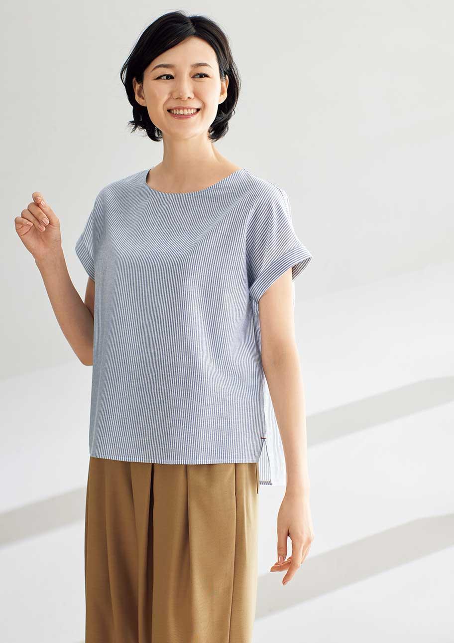 落ち感があるきれいめシャツで夏っぽい大人のカジュアルスタイル