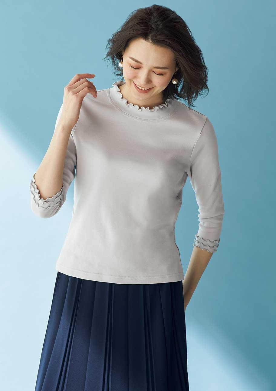 首元・袖口のメロー使いで華やかに。長いシーズン着られる7分袖